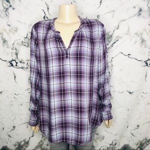 💜3/$25💜Time and Tru Plaid ButtonUp Shirt Size XL